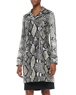 Diane von Furstenberg Sally Animal-Print Silk Mikado Trench Coat