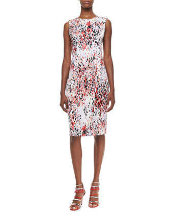 Abstract Printed Sleeveless Sheath Dress
