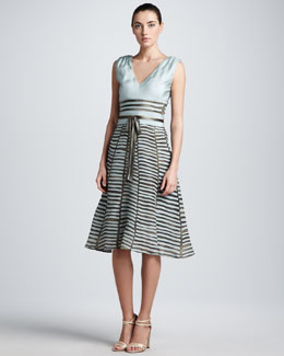 Carolina Herrera Printed Full-Skirt Combo Dress, Cloud/Taupe
