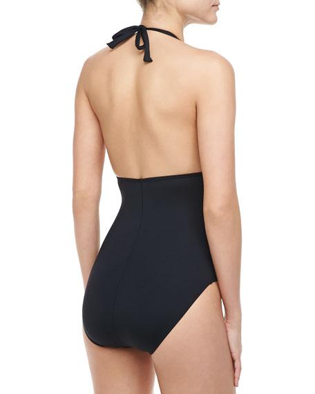 Island Goddess Plunging V-Neck Halter One-Piece Swimsuit