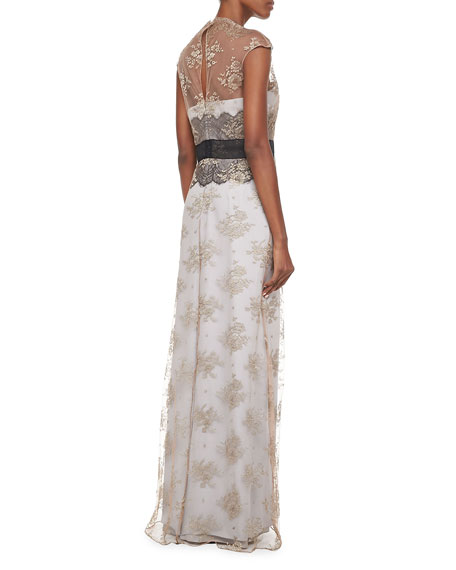 Lace Self-Tie Gown