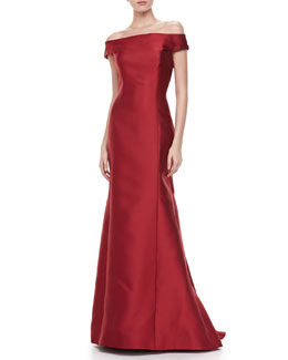 Carolina Herrera Duchesse Off-the-Shoulder Gown