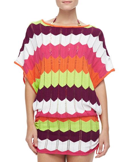 Printed Crochet Coverup Tunic