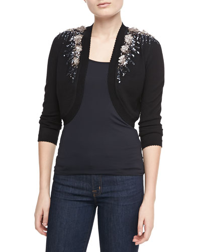 Carolina Herrera Embellished Wool Knit Bolero