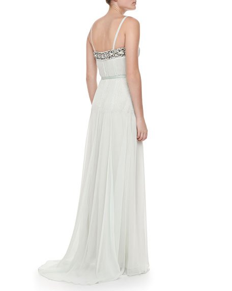 Sleeveless Beaded Crepe Gown, Ice