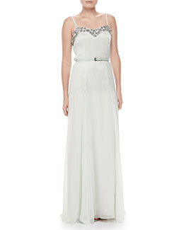 Carolina Herrera Sleeveless Beaded Crepe Gown, Ice