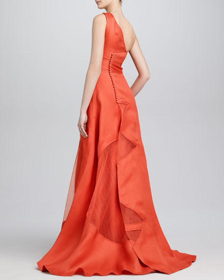 One-Shoulder Architectural Gown