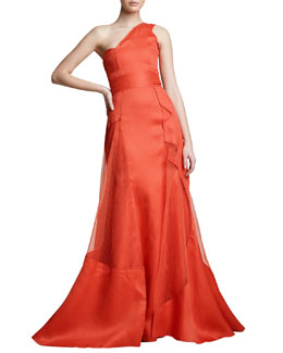 Carolina Herrera One-Shoulder Architectural Gown