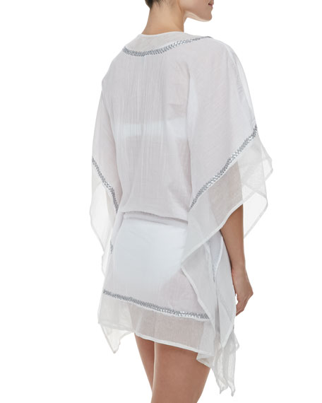 Global Chic Embellished Voile Caftan Coverup