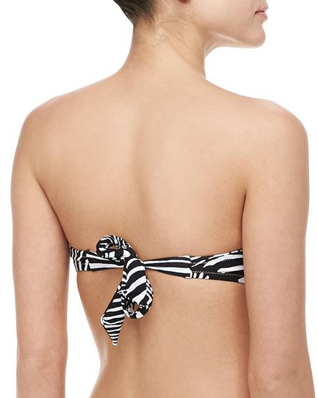 Tanzania Zebra-Print Bandeau Bikini Top