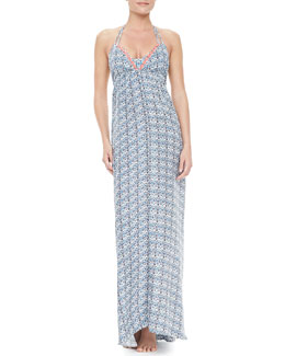 Basta Surf Tinos Floral-Print Halter Tie-Back Coverup Maxi Dress
