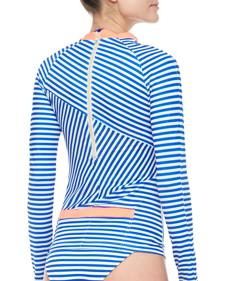 Bells Striped Long-Sleeve Rash Guard With Back Pockets