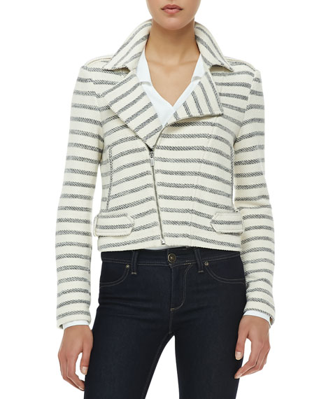 Levi Striped Asymmetric-Zip Jacket