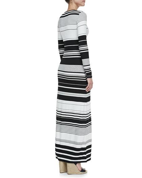 Calypso Striped Long-Sleeve Maxi Dress