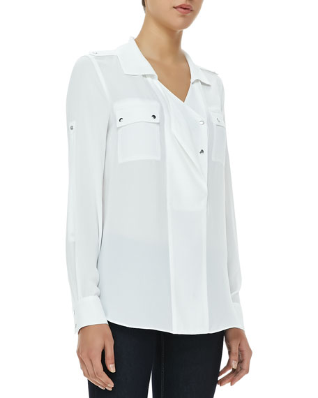 Sessilee Georgette Three-Button Blouse