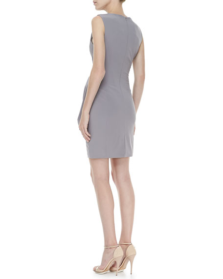 Sleeveless Side-Drape Dress, Green