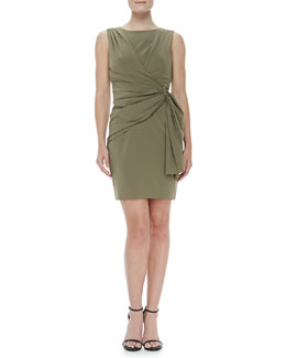 ZAC Zac Posen Sleeveless Side-Drape Dress, Green