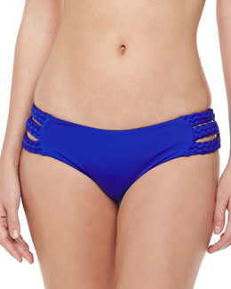 Vitamin A Chloe Side-Braid Swim Bottom, Klein Blue