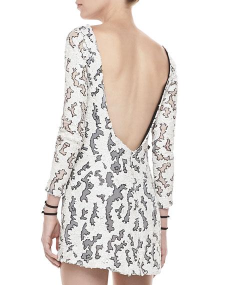 Vinica Open-Back Sequin Dress, White/Gunmetal