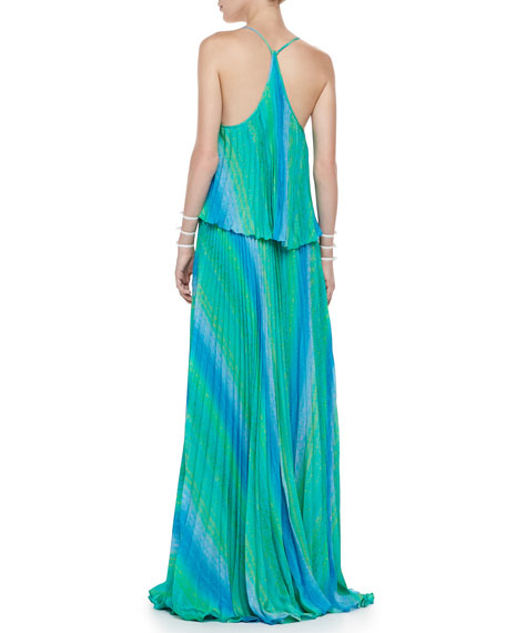 Marren Long Pleated Dress, Blue/Green Horizon