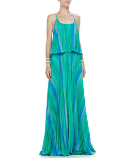 Alexis Marren Long Pleated Dress, Blue/Green Horizon
