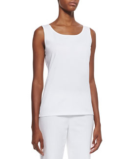 Lafayette 148 New York Long Scoop-Neck Tank, White