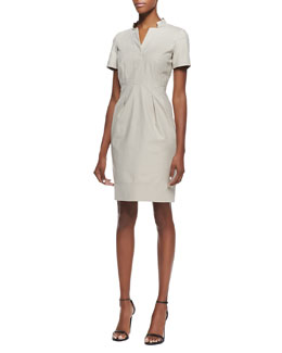 Lafayette 148 New York Yaelle Short-Sleeve Pleated Dress