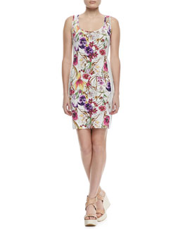 Grayse Floral-Print Beaded-Panel Tank Dress