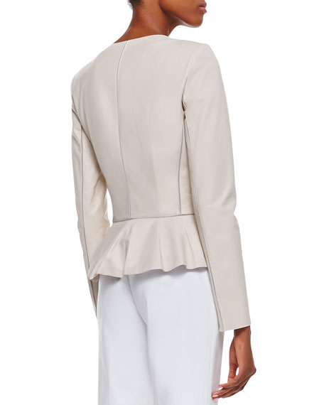 Maritza Lambskin Ruffled Jacket