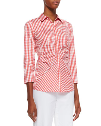 Leigh Check 3/4-Sleeve Blouse
