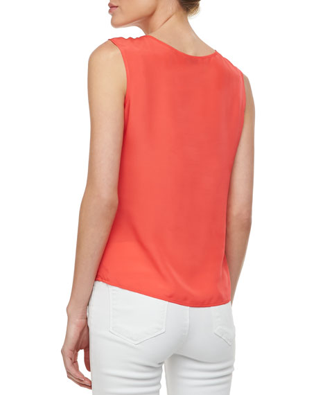 Embroidered Georgette Tank, Poppy