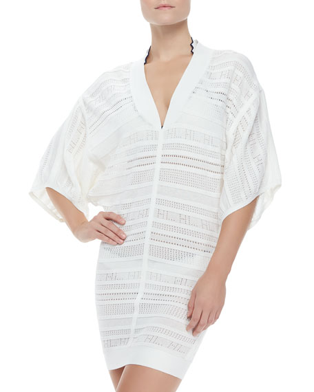 Open-Weave Knit Short-Sleeve Coverup