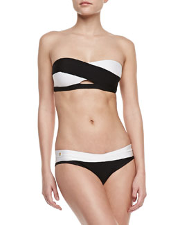 Herve Leger Two-Tone Bandage Two-Piece Swimsuit