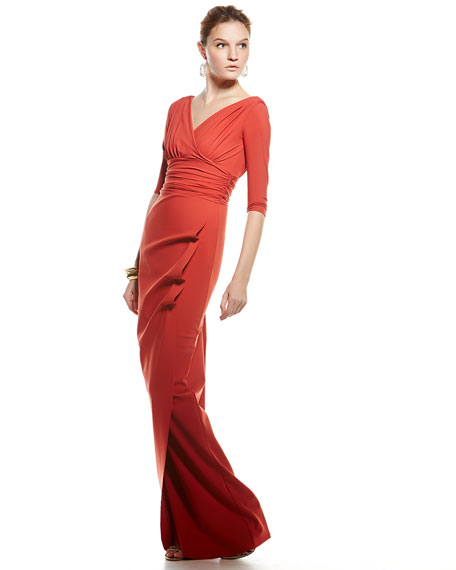 3/4-sleeve V-Neck Step-In Gown, Paprika
