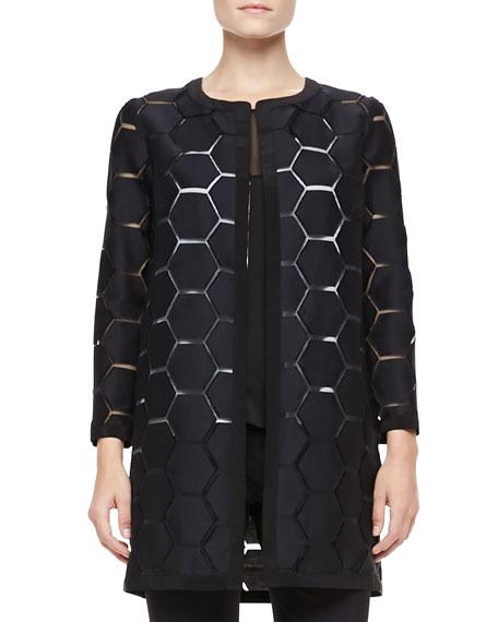 Geometric Cocktail Coat, Black