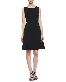 T Tahari Alexina Sleeveless A-line Dress, Black