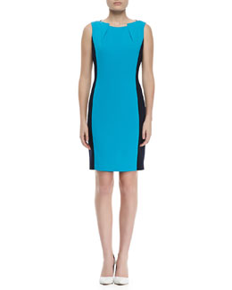 T Tahari Ellen Sleeveless Two-Tone Dress