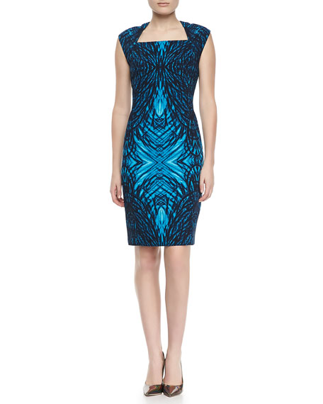 Moxie Printed Cap-Sleeve Dress