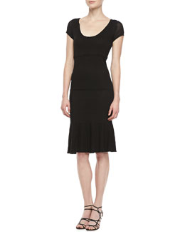 T Tahari Lubov Scoop Neck Cap Sleeve Dress, Black