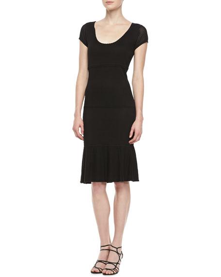 Lubov Scoop Neck Cap Sleeve Dress, Black