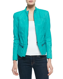 T Tahari Daughtry Zip-Front Jacket, Forward Teal