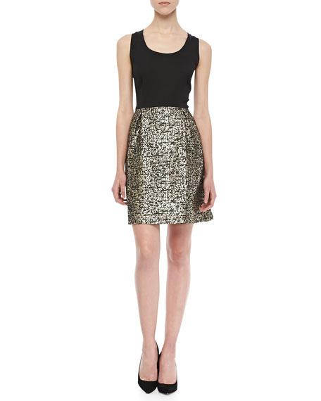 Sleeveless Metallic-Skirt Dress