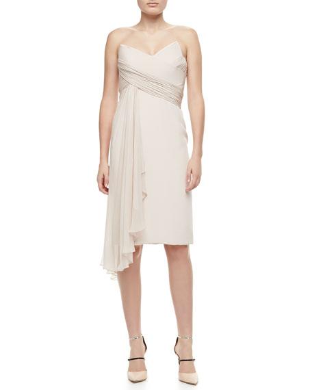Strapless Cascade-Front Cocktail Dress