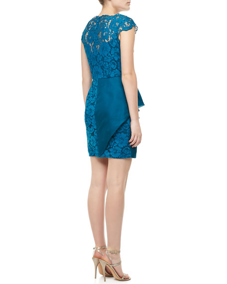 Lace Cap-Sleeve Cocktail Dress