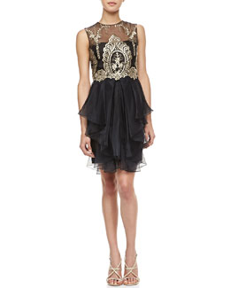 Notte by Marchesa Sleeveless Embroidered Bodice Cocktail Dress