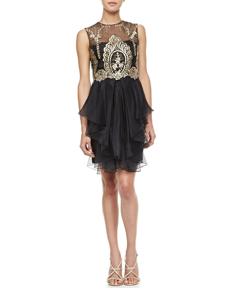 Sleeveless Embroidered Bodice Cocktail Dress