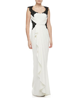 Notte by Marchesa Lace-Bodice Draped Gown