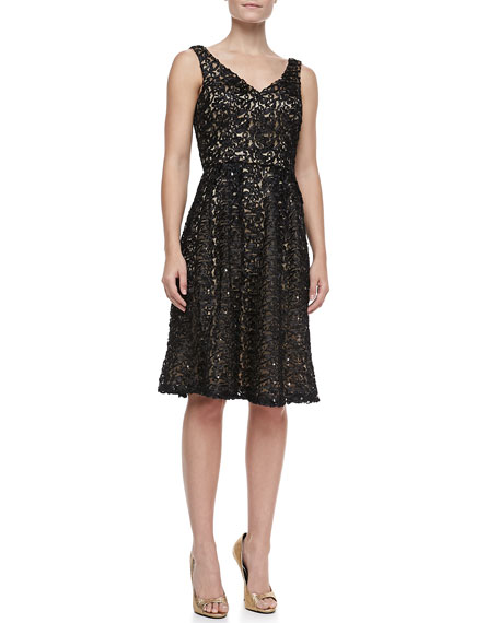 Sequined Lace Fit-and-Flare Cocktail Dress