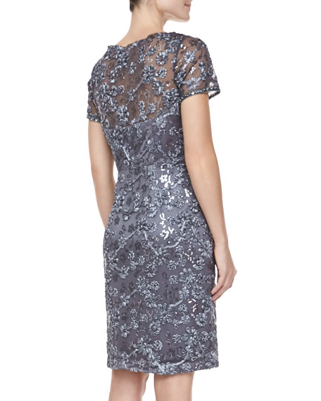 Short Sleeve Embroidered Sheath Cocktail Dress, Charcoal