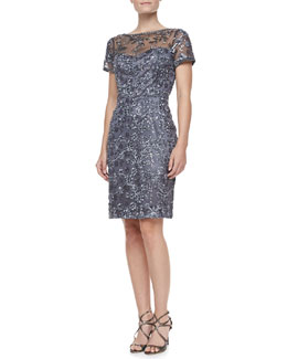 Sue Wong Short Sleeve Embroidered Sheath Cocktail Dress, Charcoal